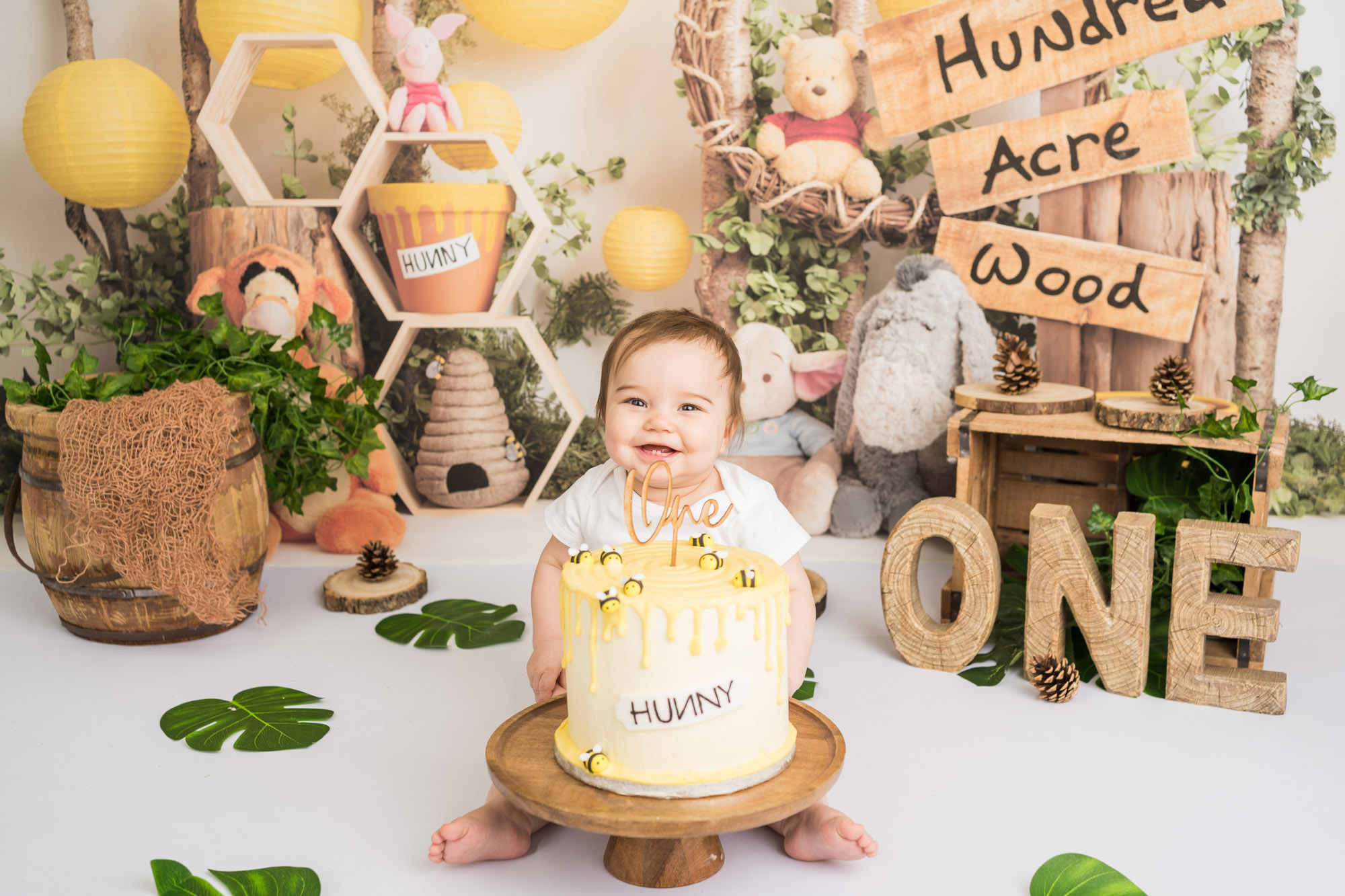 1st Birthday celebration for little baby in Winnie the Pooh setting