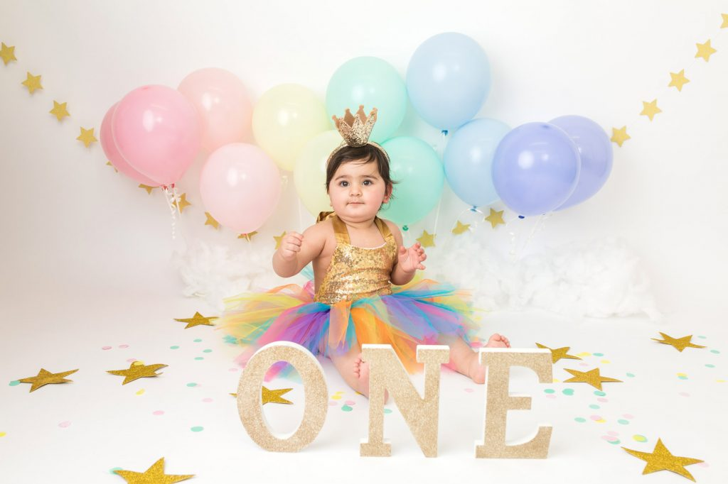 Princess with crown baby first birthday photoshoot