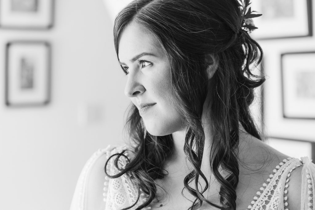 black and white photo of bride close up
