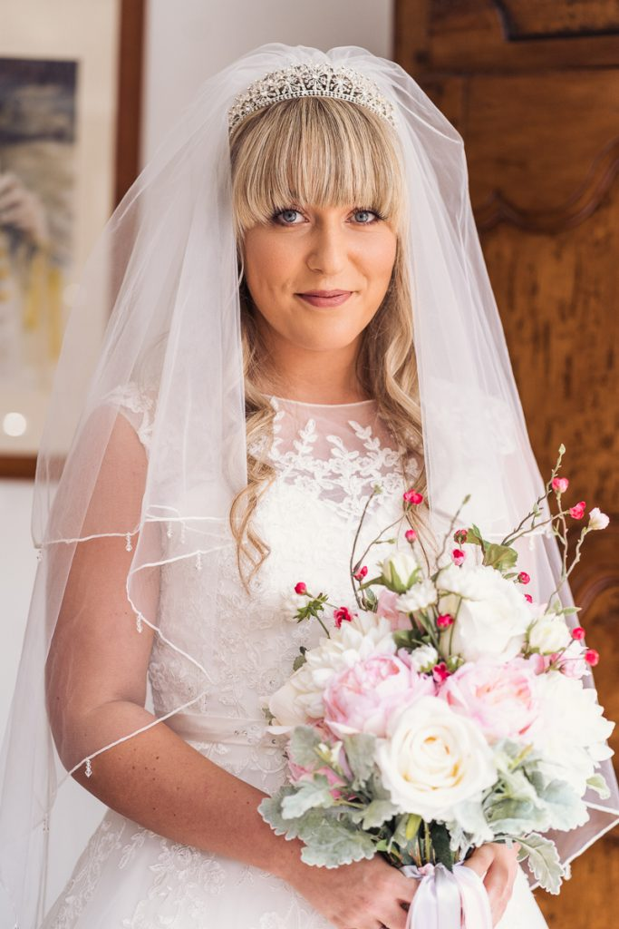 bride with her bouquet of flowers