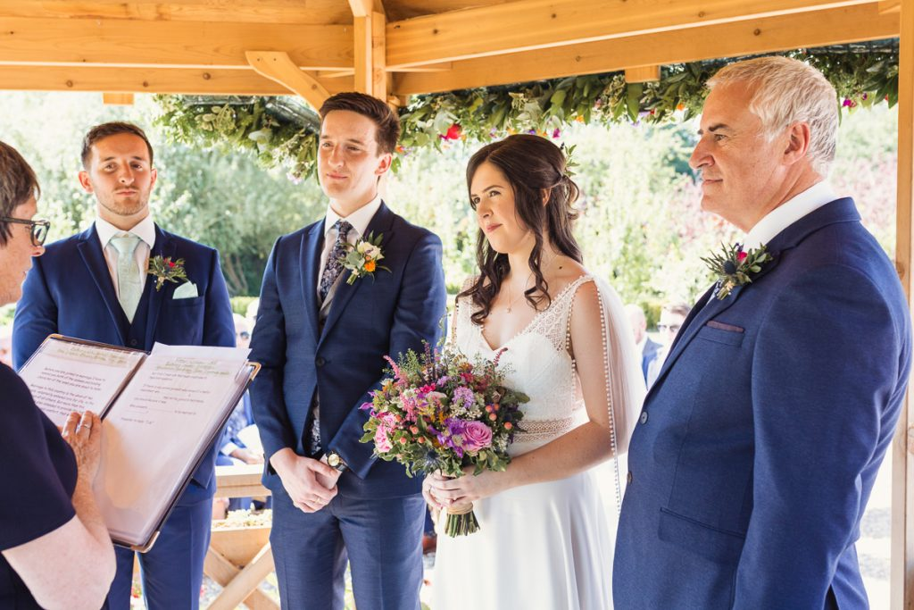 wedding celebration and reading vows