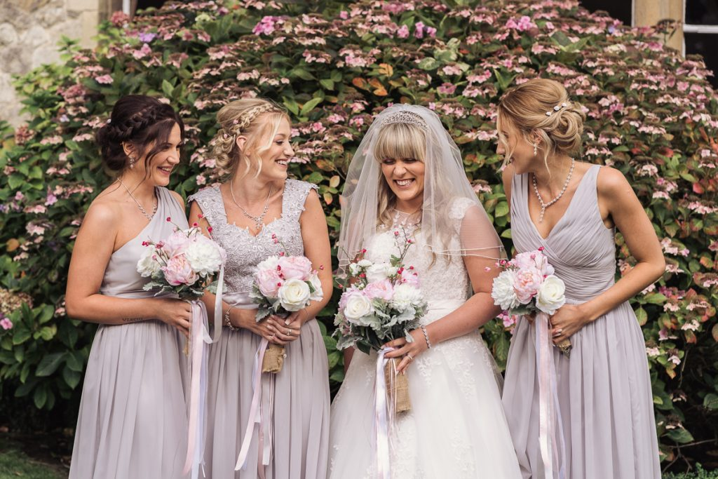 bridesmaids and bride closeup