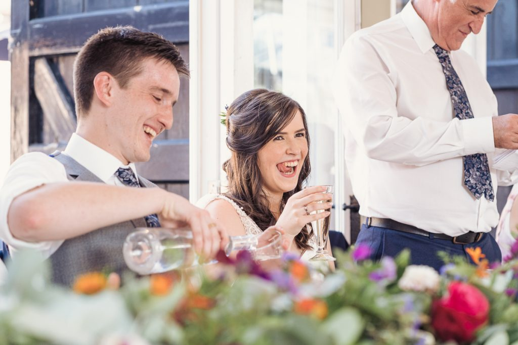 bride and groom at their tables