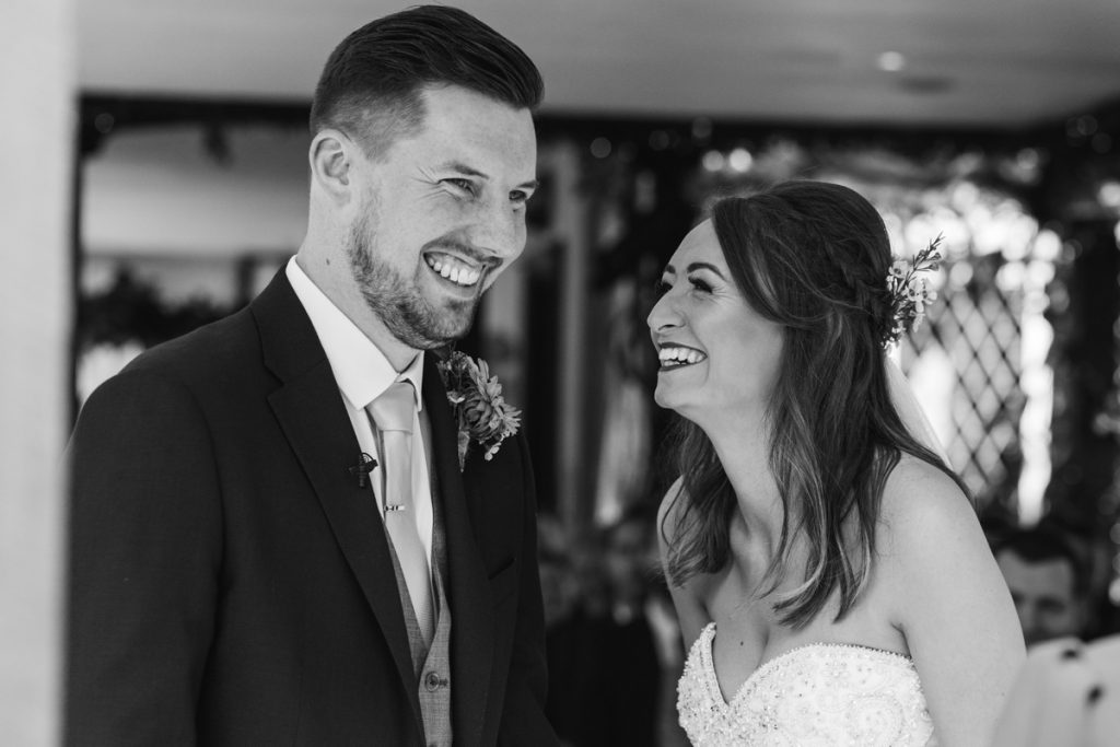 genuine happy smiles from both bride and groom