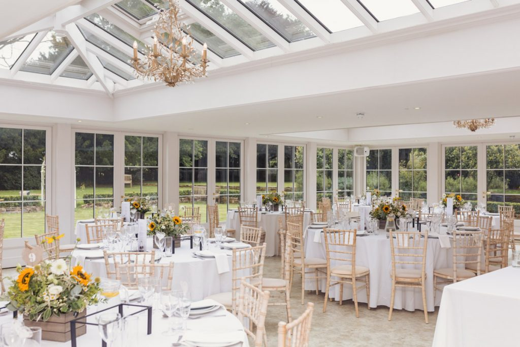 the reception area for Kent wedding day