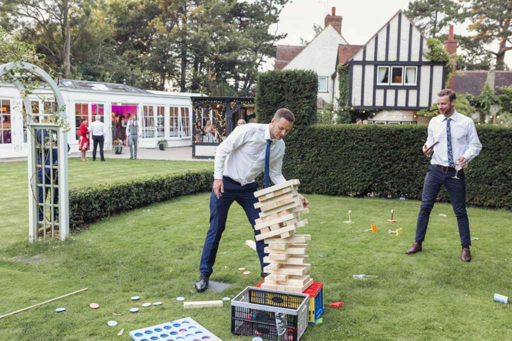 outdoor jenga played on a wedding day