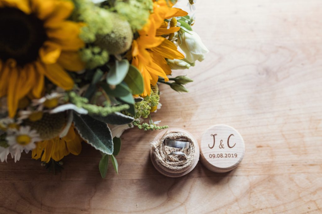 Wedding ring in a chic wooden box