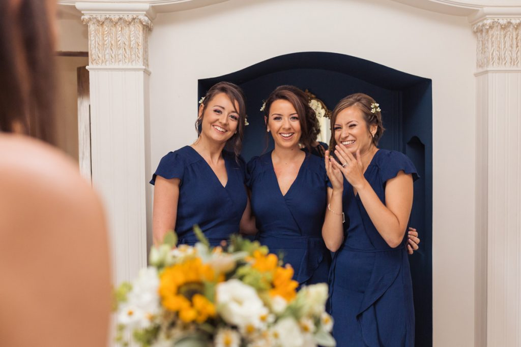 bridesmaids all still together ready to go