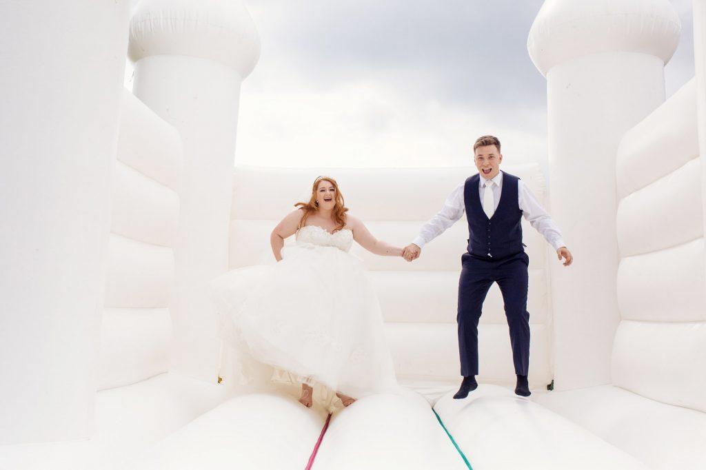 Bouncy castle wedding photoshoot