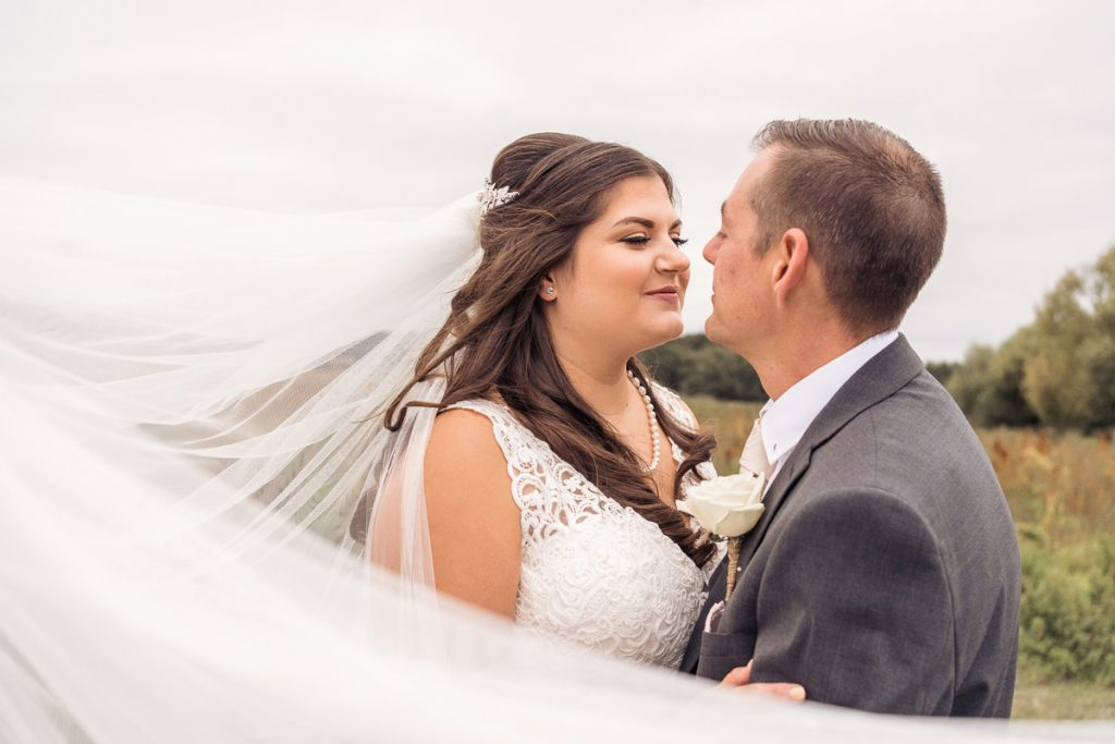 Close up of bride and her new husband