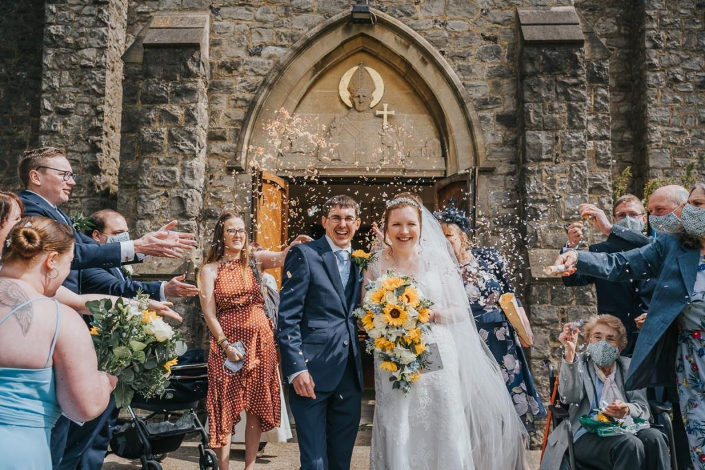 Leaving the church with confetti