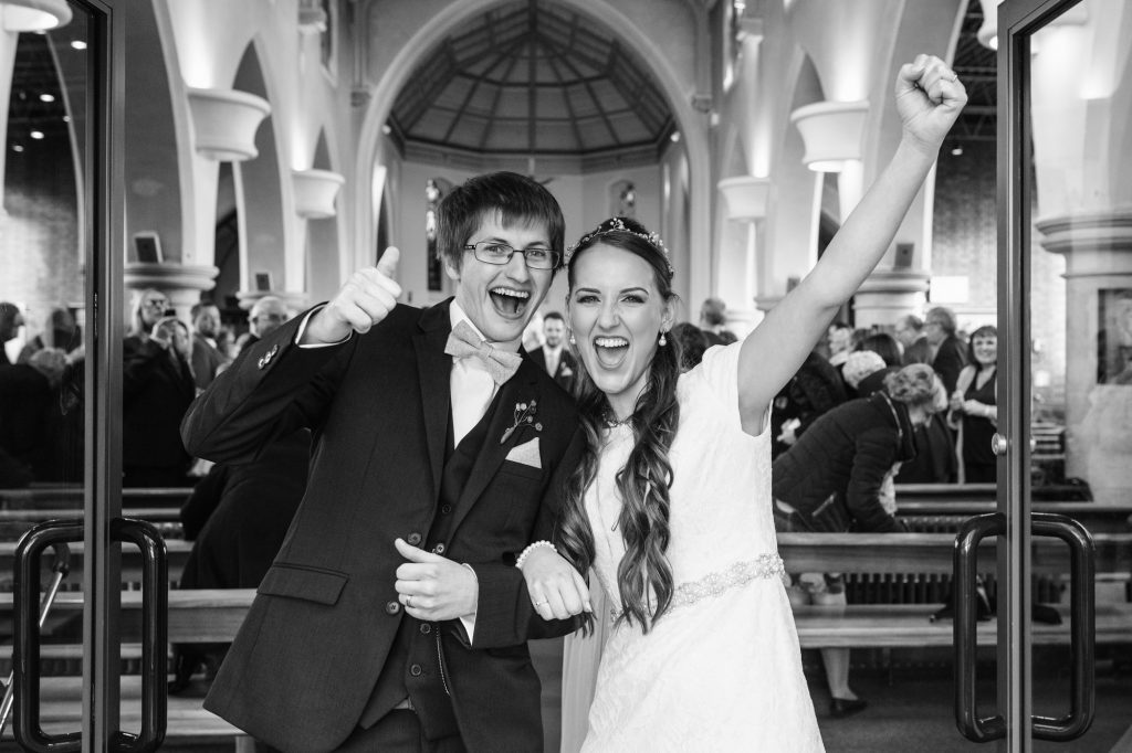 Thumbs up after just getting married