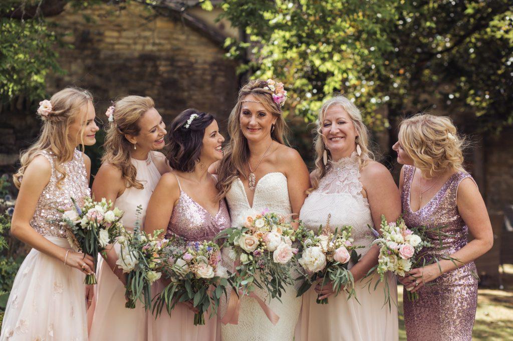 Old Kent Barn bridesmaids and bride